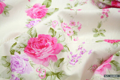 """Vintage Pink Rose Floral 100/% cotton fabric by the meter 63/"""" super width 1803012"""