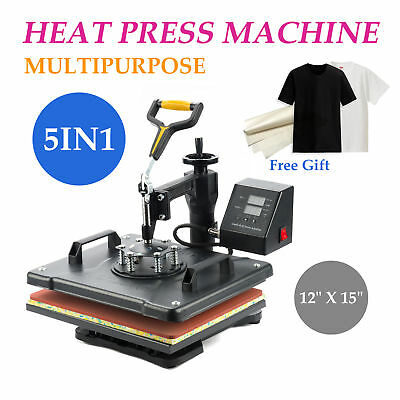 "15x12"" 5in1 Digital Transfer Sublimation Heat Press Machine T-Shirt Mug Plate CE"