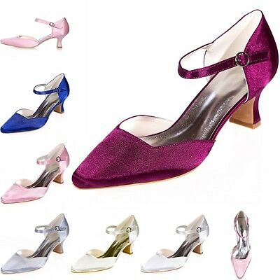 Elegant Women Bridal Satin Shoes Wedding Evening Party Dance Shoes Pump Mid 4 8
