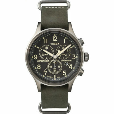 Timex TW4B04100, Men's Expedition Chronograph Leather Watch, Indiglo, Date