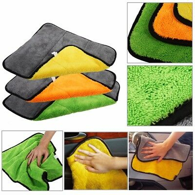 Super Absorbent Car Cleaning Towel Wiping Cloth Car Care Coral Velvet Soft US