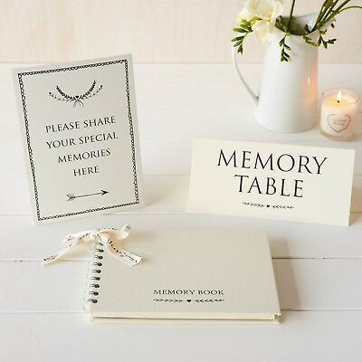 A5 Luxury Memory Book & 2 Signs Set - for Funeral Memory Table, Condolence Book