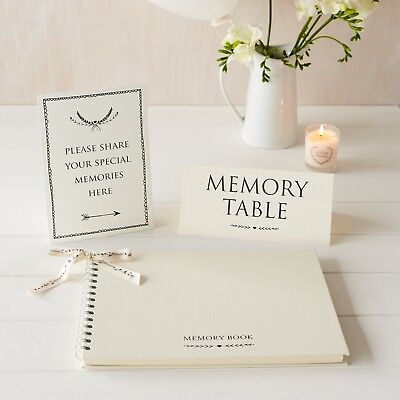 A4 Luxury Ivory Memory Book & 2 Signs Set - for Funeral, Condolence Book