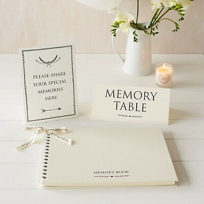 A4 Luxury Memory Book & 2 Signs Set - for Funeral Memory Table, Condolence Book