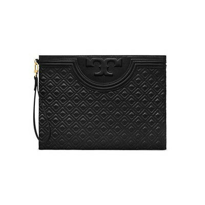 beae1c026b58 TORY BURCH Fleming Large Pouch Womens Leather Clutch Bag NWT Free Gift Black