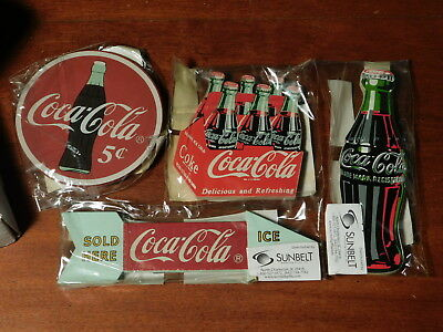 Coca-Cola Sunbelt Marketing ONE set of 4 NEW magnets vintage style mini signage