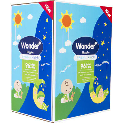 Wonder Infant Day & Night Nappies 96 Pack