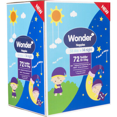 Wonder Toddler Day & Night Nappies 72 Pack