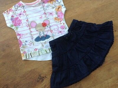 Monsoon Mothercare Girls Small Spring Summer Bundle / Outfit 12-18Mths Top Skirt