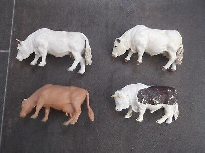 BRITAINS TOY FARM ANIMALS THREE COWS AND ONE BULL (see description)