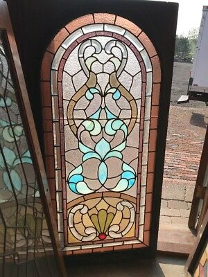 SG 2299 antique arched top beveled and stain glass landing window 26 x 54