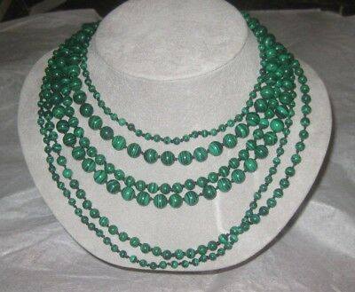 Talbots 6 Strand Malachite Beaded Necklace Ribbon Ends Knotted Between Beads
