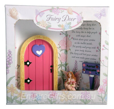 1 X Fairy Door SET Gift Boxed Pink With Fairy