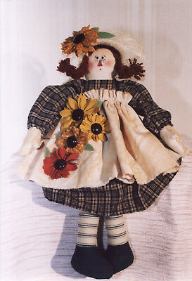 Sunflower Annie Soft  Cloth Doll Sewing Craft Pattern - PATTERN ONLY