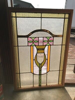 SG 2307 antique Stainglass Chicago window 25.5 x 37.5