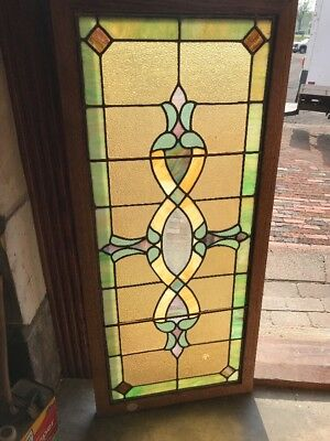 SG 2309 antique stained glass transom window beveled center 19.25 x 43.25