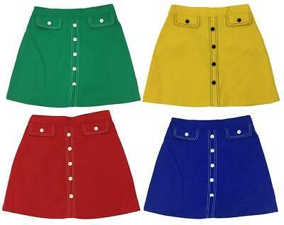 Girls Authentic Vintage Daisy Button Bright Colour A-Line Mini Skirt 2 - 5 Years