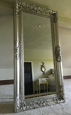 Antique Silver Vintage Large Over Mantle Statement Swept French Wall Mirror