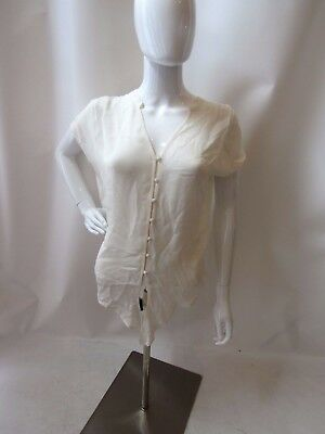 Joie Off White Silk Button Down Tie Front Blouse Top Size S