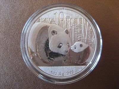 2011 Chinese 1oz Silver Panda Coin UNC supplied in capsule - Bar coin fine .999