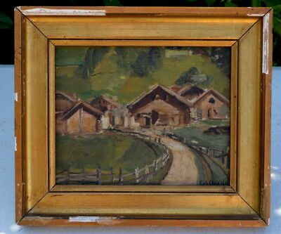 Antique French Painting Antique French Oil on Canvas Painting from the alps