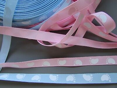 Baby Feet 1cm Grosgrain Ribbon  X 1 METRE   2 Colours Craft /Sewing /Cake Making