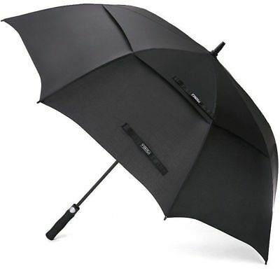Double Canopy Golf Umbrella Black Lightweight Windproof Waterproof Fiberglass
