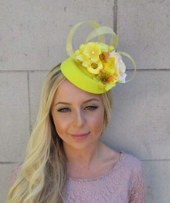 Yellow Lemon Orchid Rose Flower Pillbox Hat Hair Fascinator Clip Races Vtg 5818