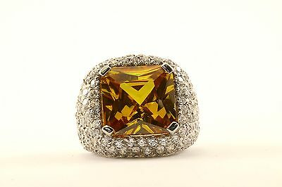 Vintage Large Cushion Cut Yellow Crystal Cocktail Ring 925 Sterling RG 2209