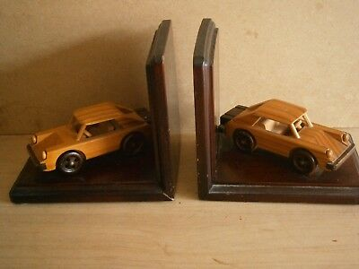 Retro Pair of Wooden Book Ends featuring VINTAGE CARS