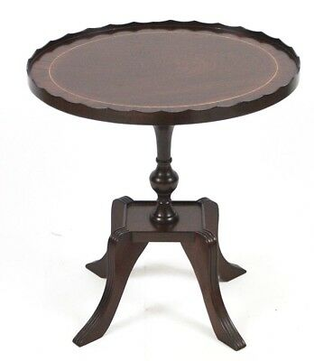 Regency Style Inlaid Mahogany Pedestal Oval Wine Table - FREE Shipping [4464]