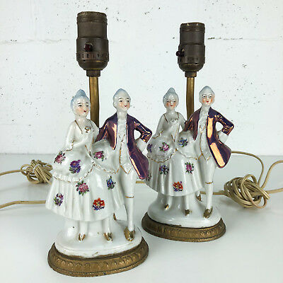 Vintage French Colonial Figurine Table Lamps Pair Set Porcelain Tested Working