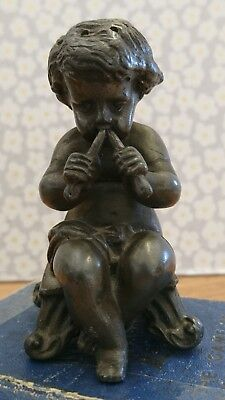 """Very Rare Gorgeous SPELTER Piping Child Statue Pepper Pot 3 1/2"""""""