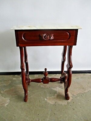 Antique Rosewood Reproduction Side Table Lamp Table W/ Italian Marble Top Table