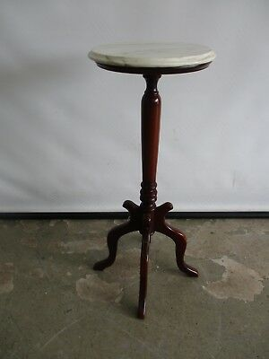 Antique Rosewood Reproduction Lamp Lamp Table Plant Stand W/ Italian Marble Top