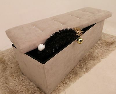X Large Stone Ottoman Storage Box Bedroom Seat Bedding with Diamante Suede Toys