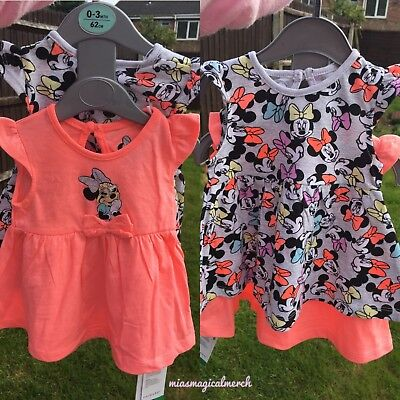 BNWT Primark Baby Girl's DISNEY Minnie Mouse 2 PACK Summer Dresses