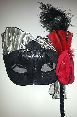 Lot 20 Perri Swan Adult Vampire Masks on a Stick Black Red Silver 11045 Rose