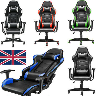 Racing Gaming Office Desk Chair Gamers PC Chair Sports Ergonomic Padded adjusted