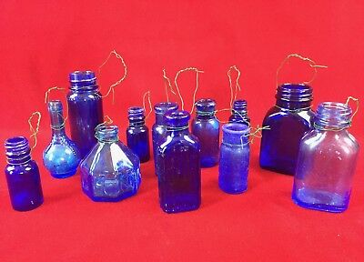 12 Antique COBALT BLUE Pharmacy Apothecary Bottles + Ink Well & Hanging Wires