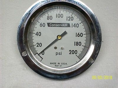 "Conservair 0-200 Psi Pressure Gauge Gage 4"" Face , 9247-01"