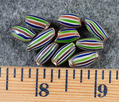 (10) Original Watermelon Huron Indian Trade Beads Pinched Ends Fur Trade 1700's
