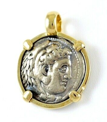 Alexander The Great Silver Tetradrachm Coin in 14K Gold Round Pendant 24 GRAMS