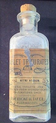 Tablet Triturates Apothecary Medicine Bottle Vtg Boericke & Tafel Nitri Acidum