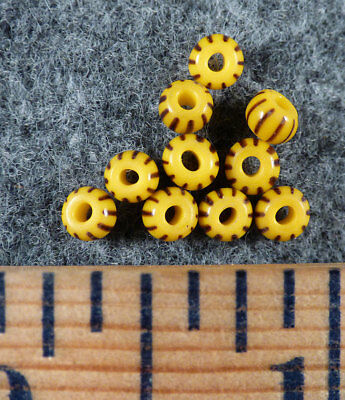 (10) Original Small Black & Yellow Chevron Huron Indian Trade Beads Fur Trade