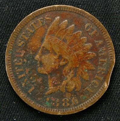 1886 Indian Head Cent Penny 1C Xf Extra Fine Us Mint Error Curved Clip (4764)