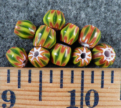 (10) Original Old Green & Red Chevron Huron Indian Trade Beads Fur Trade