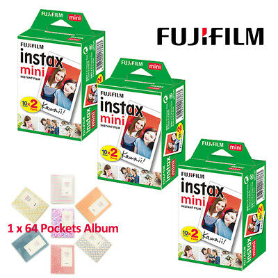 60 Plain Mini White Fujifilm Instax Film For Fuji 8 25 70 90 + Free Album