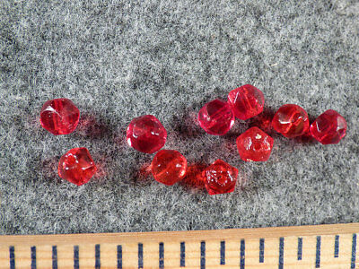 (10) Original Red Faceted Russian Glass Indian Trade Beads Fur Trade Era 1700's