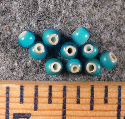 10 Original Plains Sky Blue Indian White Heart Trade Beads Venetian Pre-1800